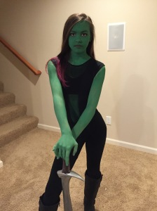 Finished product: GAMORA with her sword.